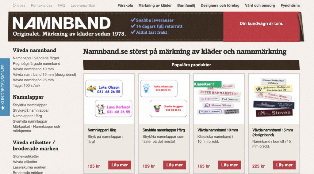 namnband webbplats