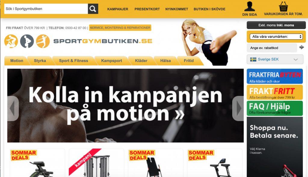 sportgymbutiken webbplats