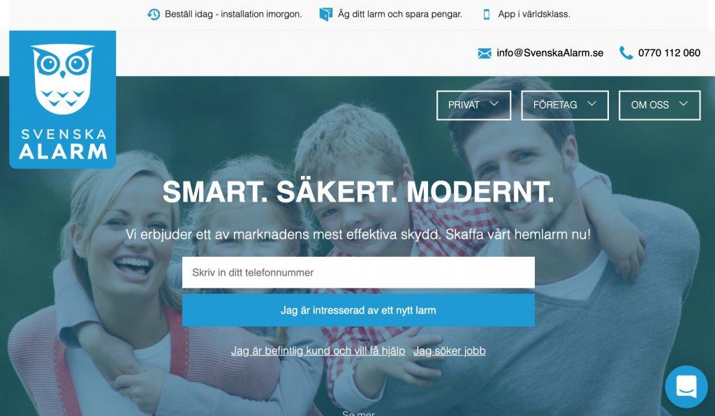 svenska alarm webbplats