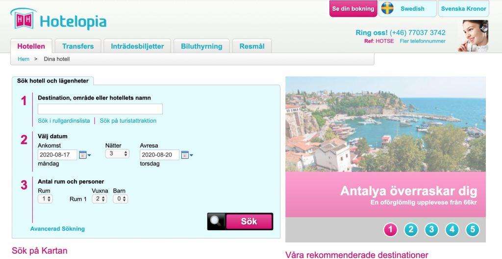 hotelopia webbplats