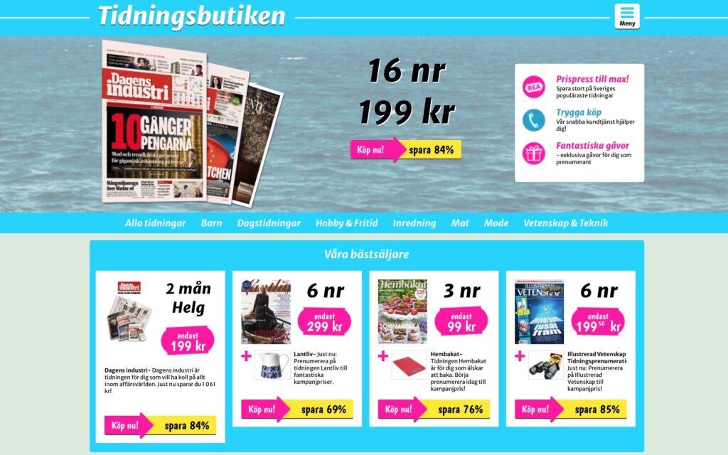 tidningsbutiken webbplats