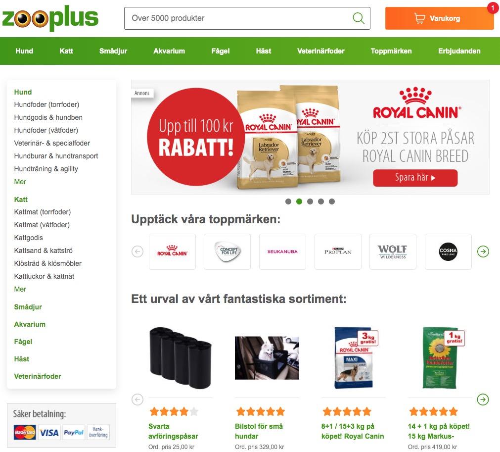 zooplus webbplats