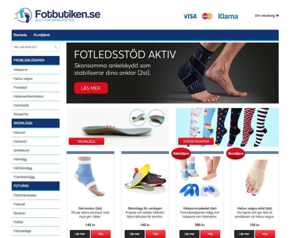 fotbutiken webbplats