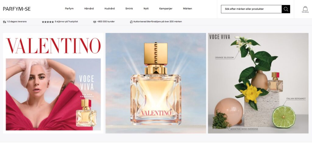 parfym.se webbplats