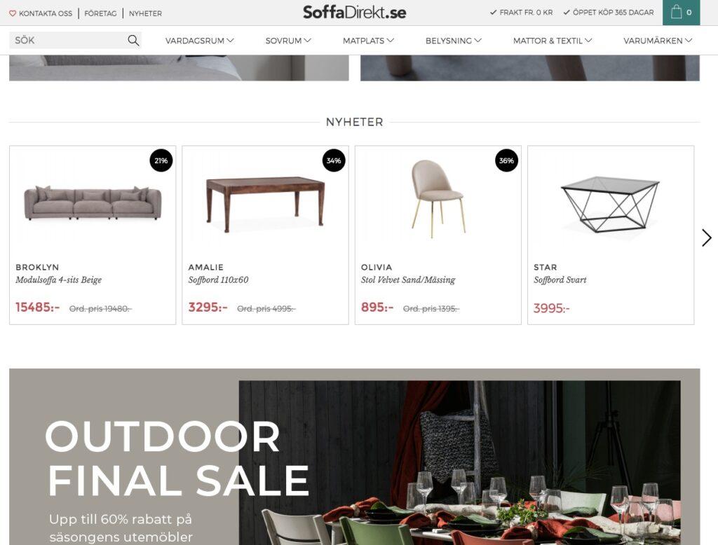 soffadirekt webbplats