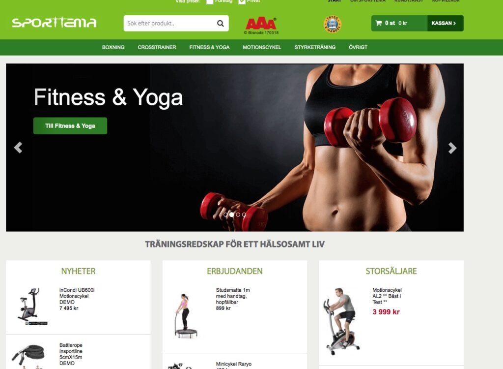 sporttema webbplats