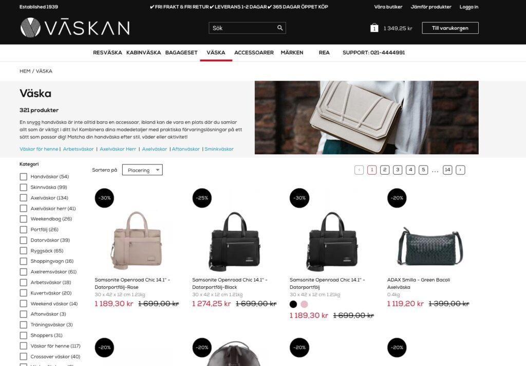 väskan.com webbplats